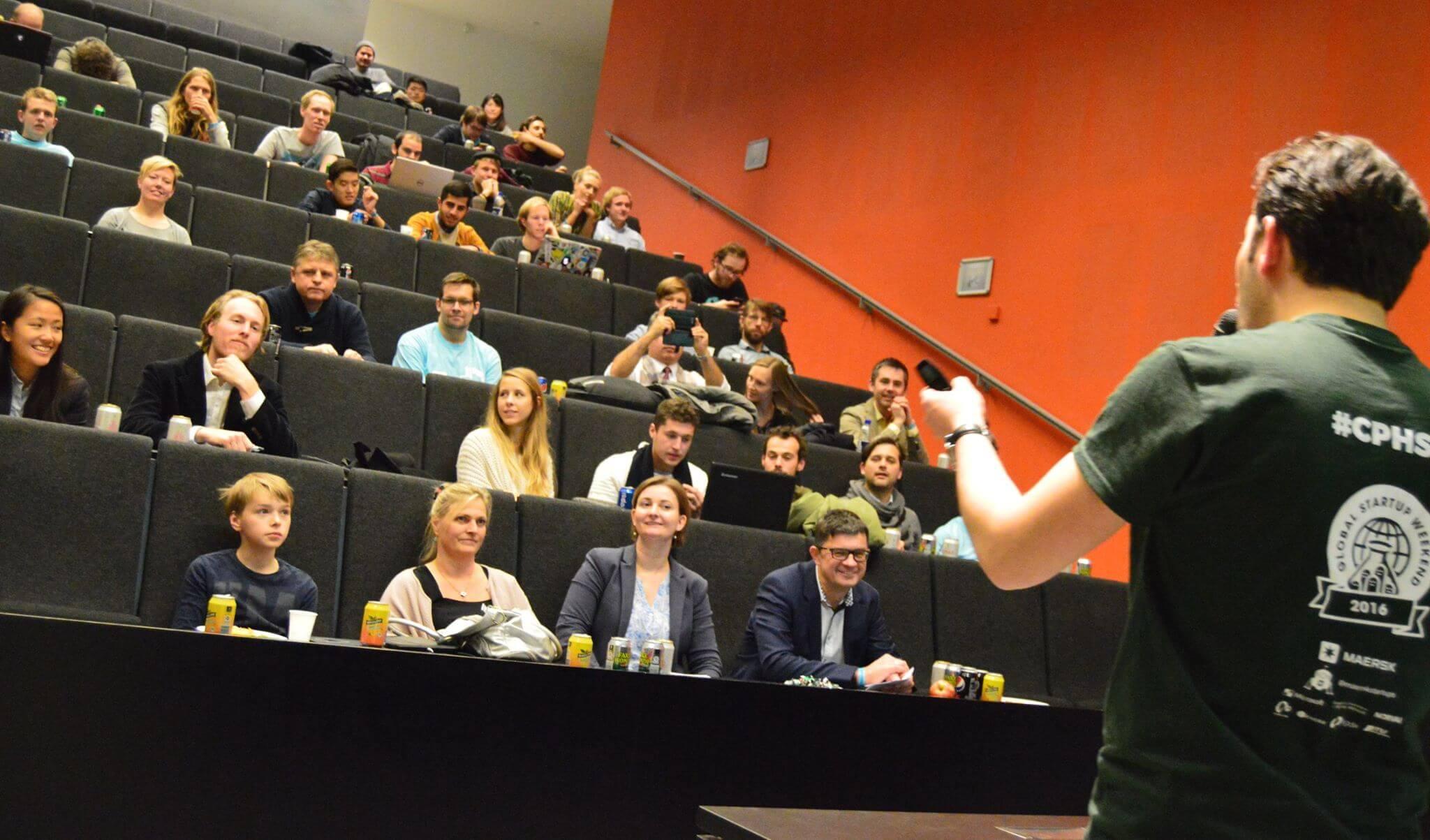 Audience of Startup Weekend Copenhagen from the perspective of moderator Serhat Kaya